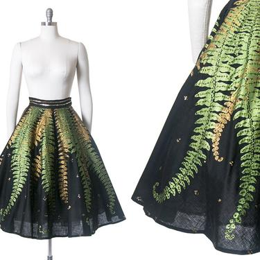 RARE Vintage 1950s Circle Skirt   50s Mexican Sequin Fern Novelty Print Black Cotton Hand Painted Souvenir Skirt (small) by BirthdayLifeVintage