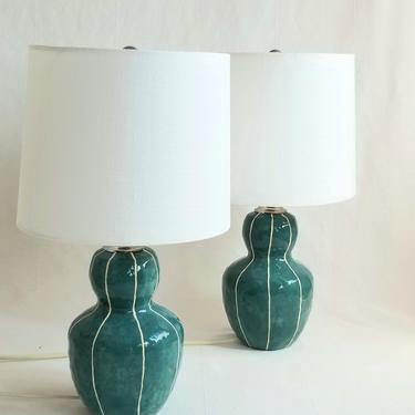 Bedside table lamp. Handmade ceramics with stripes by krikriceramics