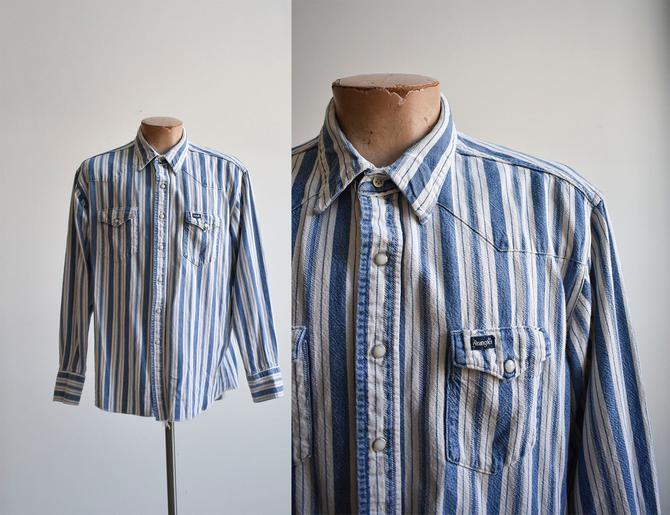 Vintage Striped Denim Wrangler Western Shirt by milkandice