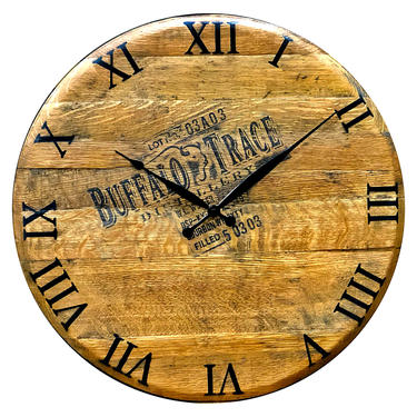 Bourbon Whiskey Barrel Wall Hanging Clock - Large Rustic Wooden Clock - Reclaimed Barrel Decor by HungarianWorkshop