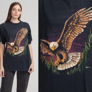 90s Bald Eagle Graphic Tee - Large | Vintage Unisex Wraparound Black Animal T Shirt by FlyingAppleVintage