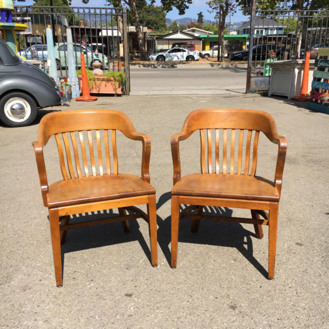 Pair of W.H. Gunlocke Maple Office Armchairs