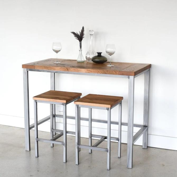 Reclaimed Wood Pub Table with Industrial Metal Base by wwmake
