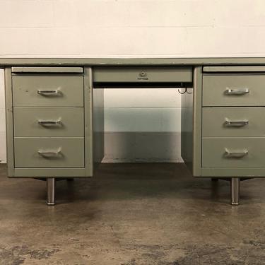 Steelcase Mid-Century Industrial Steel Tanker Desk With Chair by modernmidcenturyfurn
