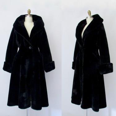 PLUSH LIFE Borgana Borg Deluxe Vintage 70s Faux Fur Coat | 1970s Joseph Magnin Princess Fit & Flare Dress Coat | 60s 1960s Overcoat | Small by lovestreetsf