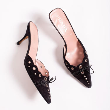 Vintage PRADA Black Suede Studded + Grommet Mules with Leather Bow 38.5 Kitten Heel Slides by backroomclothing