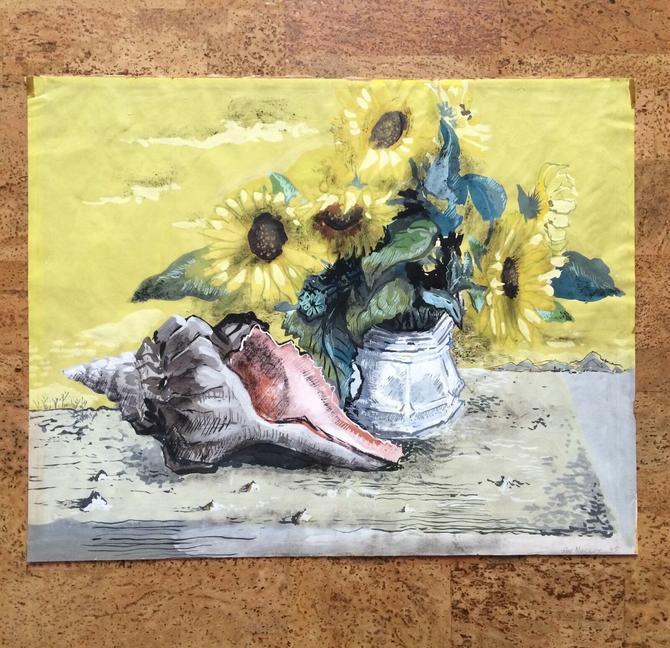 Rare Guy Maccoy Gouache Still Life Painting, Sunflowers Seashell 1945 Listed WPA by templeofvintage