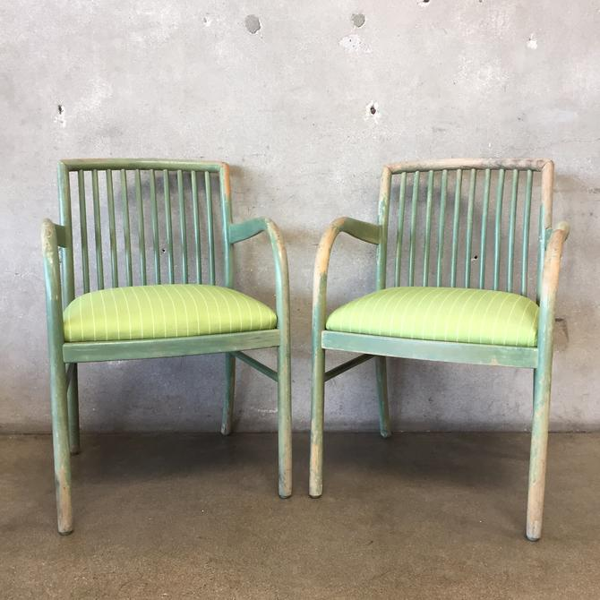 Pair of Vintage Spindle Back Open Arm Chairs