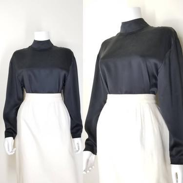Vintage Black Silk Blouse, Medium / High Neck Blouse / Silk Charmeuse Office Blouse / Black Cocktail Blouse / Minimal Black Dress Blouse by SoughtClothier