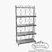 Vintage Wrought Iron Bakers Rack w/ White Milk Glass Shelves by BucksEstateTraders
