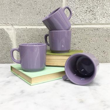 Vintage Mug Set Retro 1980s Contemporary + Ceramic + Purple + Set of 4 Matching + Drinkware + Coffee Cup + Home and Kitchen Decor by RetrospectVintage215