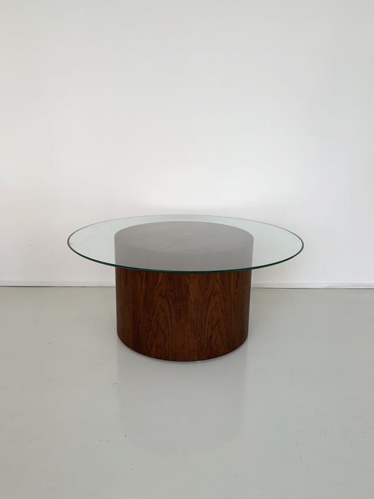 Walnut Drum Coffee Table by Paul Mayen