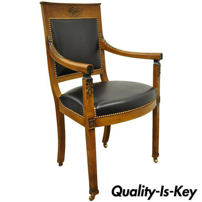 French Empire Louis XVI Directoire Style Cherry Black Leather Desk Arm Chair