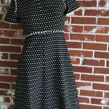 60s Black/White Jacquard Cotton pique Designer Dress ANNE FOGARTY by FlashbackATX