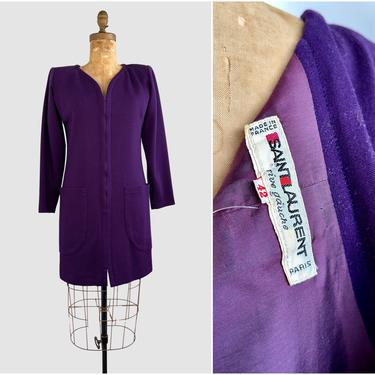 SAINT LAURENT Rive Gauche Vintage 80s Dress | 1980s Purple Knit Minimalist Tunic | Made in Paris France, Parisian Designer | Size 42 Medium by lovestreetsf