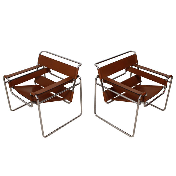 Early Pair of Gavina / Knoll Italian Modern Wassily Leather Chairs