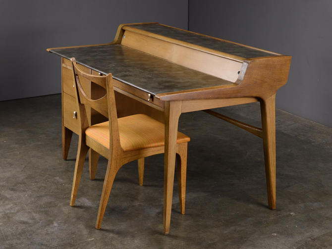 Mid Century Desk John Van Koert Drexel Profile with Chair by MadsenModern