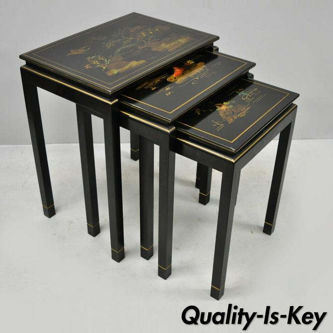 3 Vtg Oriental Handpainted Black Lacquer Nesting Side Tables by Katherine Henick