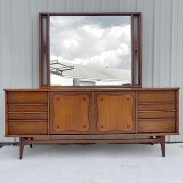 Mid-Century Dresser With Mirror by Bassett by secondhandstory