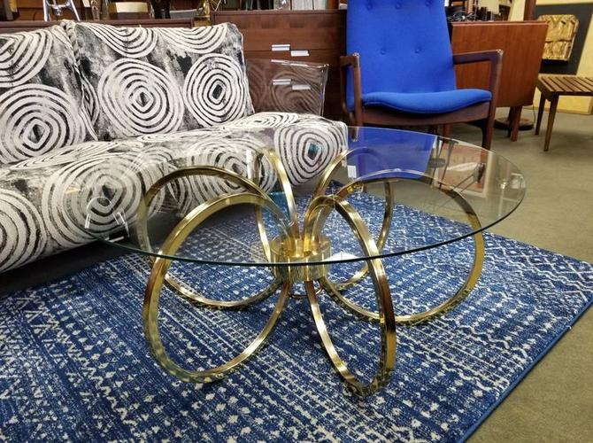 Mid-Century Modern brass rings coffee table