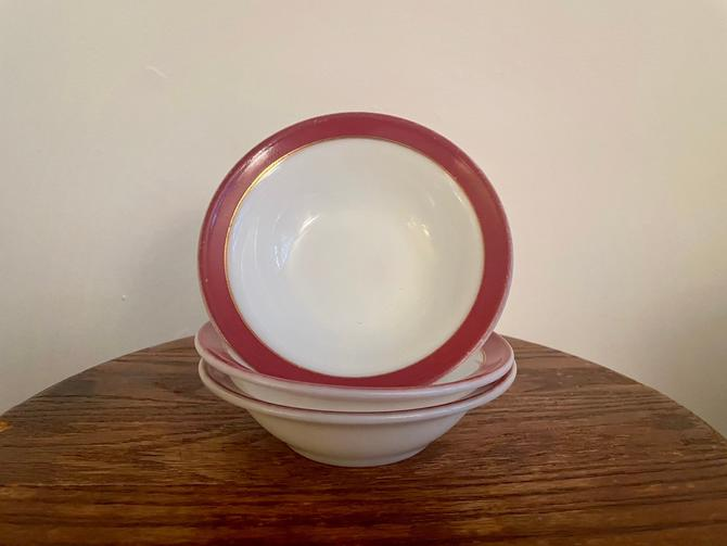 Vintage Pyrex Bowl Set of 3, Christmas Red Maroon and Gold Trimmed Rim on White Milk Glass Pattern, Associated with Pyrex Tea Set by BlackcurrantPreserve