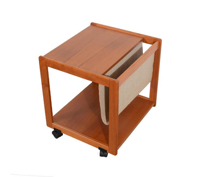 Teak Magazine Stand Side Table Danish Modern by HearthsideHome