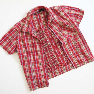 Vintage 90s 2000s Red Plaid Blouse M - Cotton Plaid Short Sleeve Shirt - Plaid Button Up - Camp Blouse - Smock Top - by MILKTEETHS