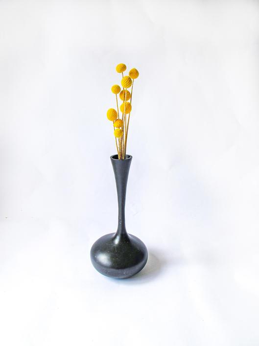 Vintage French Sleek Black Metal Architectural Vase by PortlandRevibe