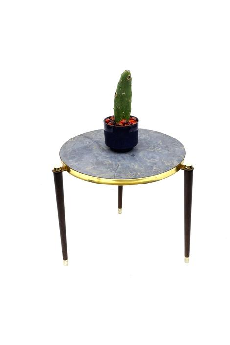 Mid-Century Marble Grey & Gold Formica Accent Table/Plant Stand  Walnut Tapered Legs Brass Trim Circular Retro Side Table by ELECTRICmarigold
