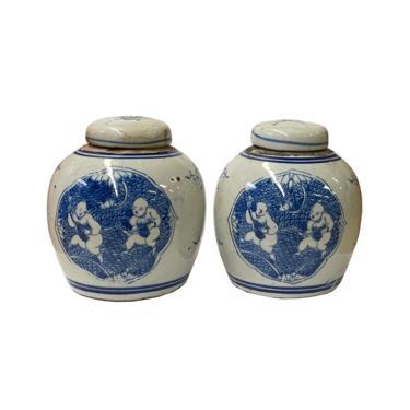 Pair Blue White Small Oriental Graphic Porcelain Ginger Jars ws951E by GoldenLotusAntiques