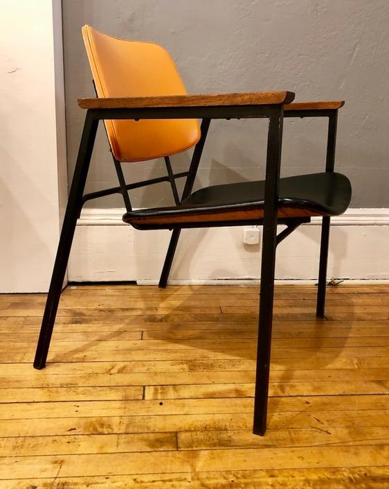 Rare Pair of Mid Century Armchairs by Jaques Hitier 1950's