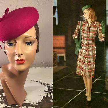 Heading into the Office - Vintage 1940s WW2 Magenta Fuchsia Pink Felt Pill Box Caplet Hat w/O Ring by RoadsLessTravelled2