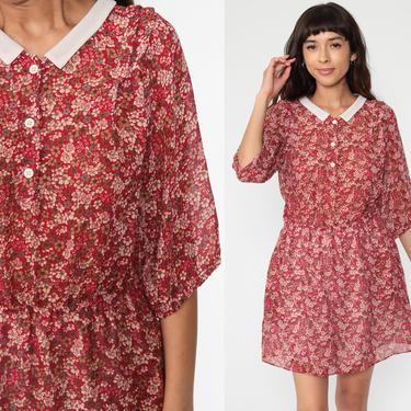 Red Floral Dress Mini Button Up 80s Vintage Boho Secretary Shirtwaist High Waisted Peter pan collar Short Sleeve 70s Medium by ShopExile