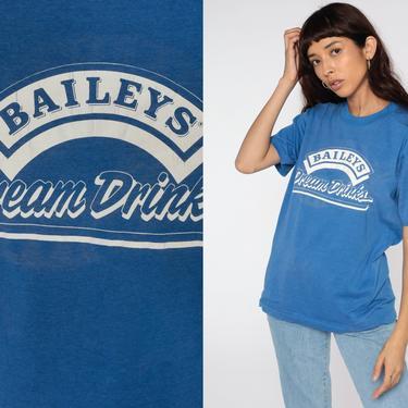 Baileys Shirt Dream Drinks Alcohol Shirt 80s Irish Cream Whiskey Tshirt Graphic Print Liquor Screen Stars Tee Vintage Royal Blue Medium by ShopExile