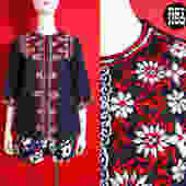 Lovely Vintage 70s Navy Blue Red & White Floral Embroidery Hippie Blouse by RETMOD