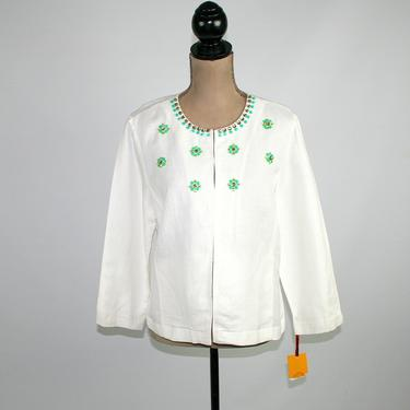 Embellished White Linen Jacket Women Large, Collarless Boxy with Pockets, Loose Lightweight Spring Summer Resort, Y2K 2000s Clothes Size 12 by MagpieandOtis