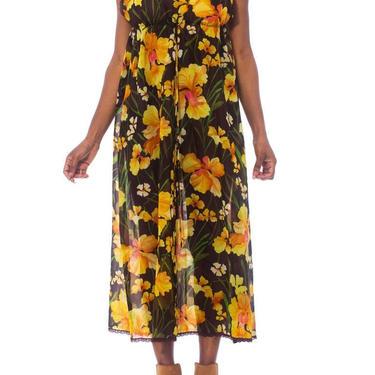 1970S SAKS 5TH AVE Sheer Nylon & Lace Drawstring Empire Waist Negligee Slip Dress by SHOPMORPHEW