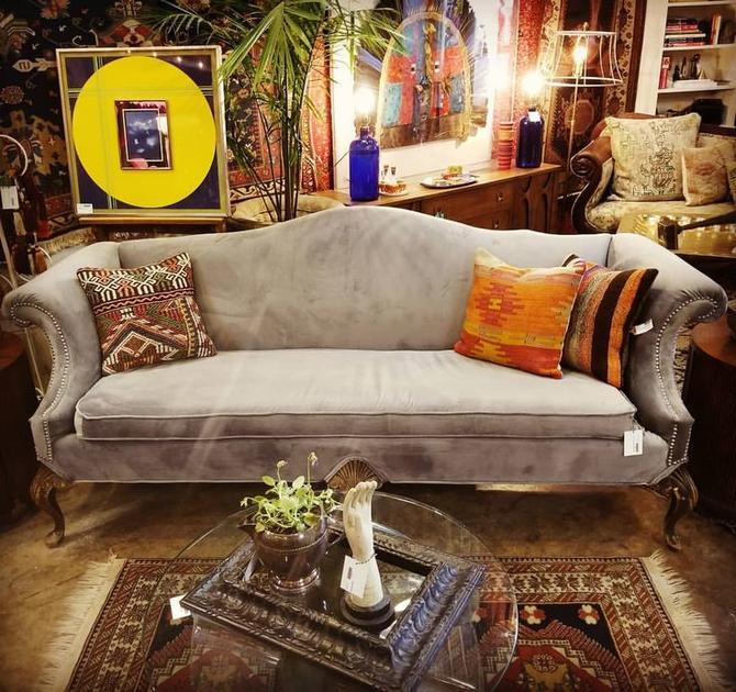 Newly Upholstered grey velvet sofa. $1200.