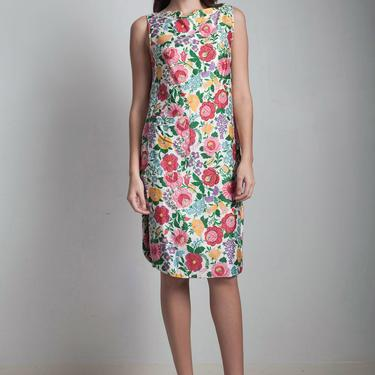 50s vintage cotton day dress boat neck pink yellow floral side button sleeveless SMALL MEDIUM S M by shoprabbithole