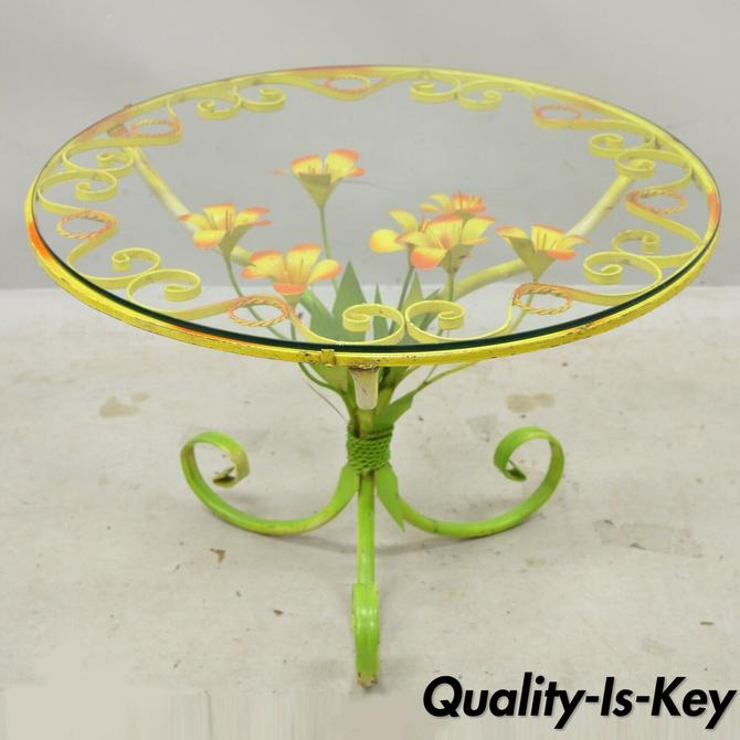 "Italian Hollywood Regency Orange Yellow 25"" Round Iron Flower Small Coffee Table"