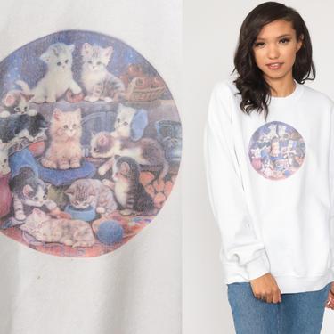 Cat Sweatshirt Kitten Sweater 80s Animal Sweatshirt Vintage 90s Graphic Retro White Novelty Print Extra Large xl by ShopExile