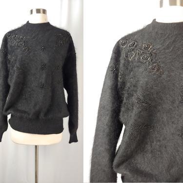 Vintage Eighties Black Angora Blend Hong Lee Embellished Sweater - 80s Large Fuzzy Dolmen Sleeve Pullover Sweater by JanetandJaneVintage