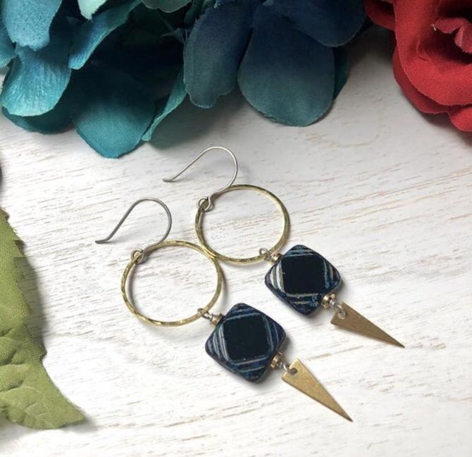 Black Beaded Earrings