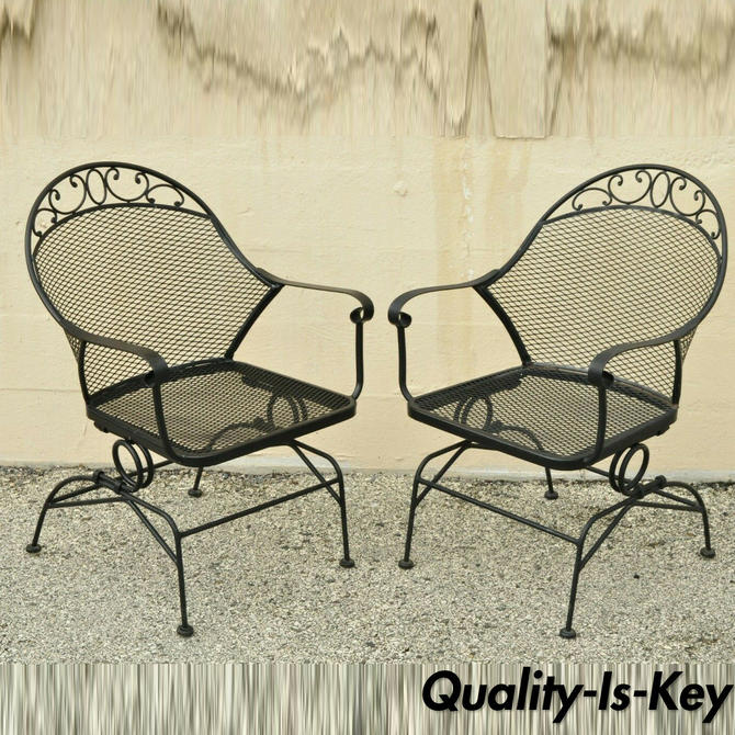 2 Wrought Iron Better Homes and Gardens Clayton Court Outdoor Spring Arm Chairs