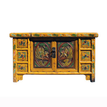 Chinese Distressed Yellow Carving Motif TV Console Table Cabinet cs5905E by GoldenLotusAntiques