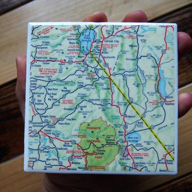 1962 Yosemite National Park and Lake Tahoe area Handmade Repurposed Map Coaster - Ceramic Tile - Repurposed 1960s Richfield Highway Map by allmappedout