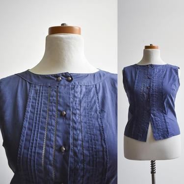 1950s Blue Cotton Button Up Blouse by milkandice