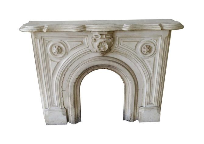 1890s Victorian Statuary White Carved Marble Mantel