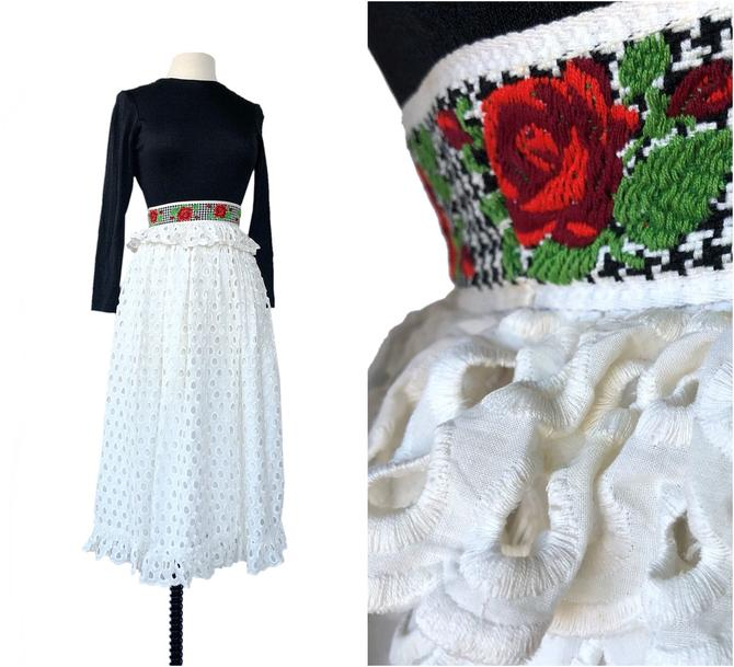 Vintage black & white eyelet maxi dress| rose embroidered waistband with ruffle| long sleeve XS| late 60s early 70s by Vintagiality
