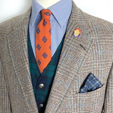 Vintage Palm Beach 100% WOOL TWEED Wool Blazer ~ 46 Short to Reg ~ Herringbone ~ jacket / sport coat ~ Preppy / Ivy League / Trad ~ by SparrowsAndWolves